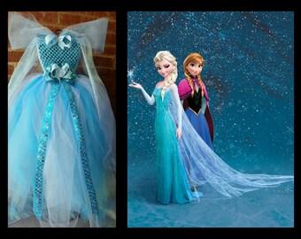Frozen Elsa Full Length Tutu Dress Costume Matching Sibling Anna Elsa Disney Halloween Birthday