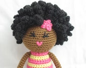 Crochet African Doll in Pink and Yellow Plush Afro Natural Black Hair Stuffed Toy Baby Girl Gift MADE TO ORDER