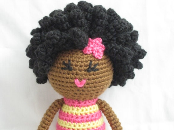 Crochet Hair Doll : Crochet African Doll in Pink and Yellow Plush Afro Natural Black Hair ...