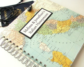 Travel Journal for Honeymoon, Year Abroad, Mission Trip or Graduation Gift. Includes vintage map of Italy and customization.
