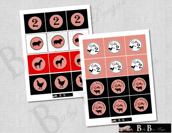 Farm Birthday 2 inch Round Tags/Cupcake Toppers- Red & Black- Printable or Shipped