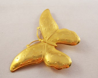 Large Vintage Gold Butterfly Brooch