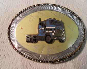 Vintage 70s'   Semi Truck,,  Belt Buckle,, Truckers belt, super cool,