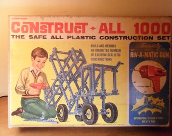 Vintage Transogram Construct-All play set,  great vintage construction set, all plastic, complete