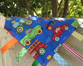 SALE Trucks and Trains Tag Blanket // Your Choice of Minky Color // In Stock, Ready to Ship