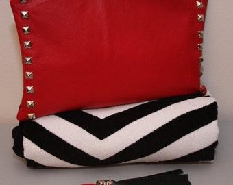 Genuine Leather Black & Red Double-Sided Studded Portfolio Clutch