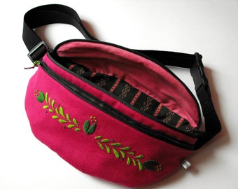 fanny pack/hip bag - mauve/pink and green with embroidery (large size)