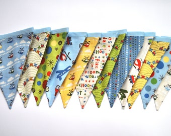 Scoot by Riley Blake fabric banner bunting, Boys birthday party or room decor, little boys baby shower - nursery decor, photo prop