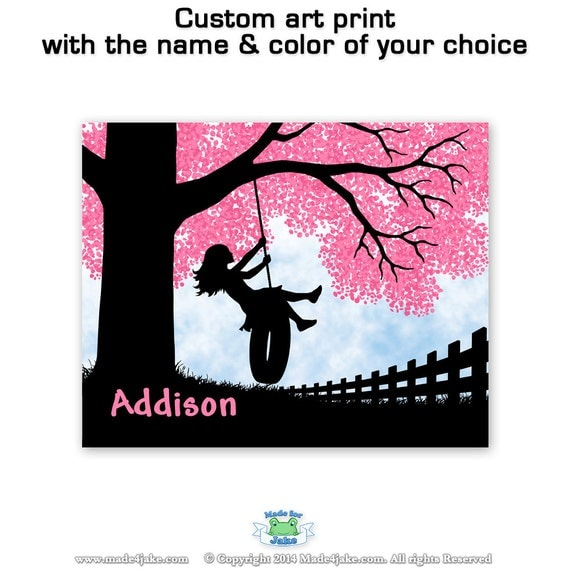 Spring Tireswing Art Print for Children's Room (Girl)