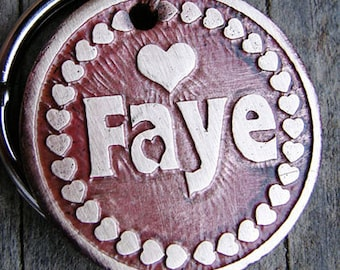 Pet Tag, Custom Dog Tag, Custom ID Tag, Hearts