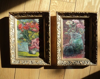 2 Impressionistic Floral Still Life Original Oil Paintings on Canvas Board signed by The Artist A Hurst with great texture and composition