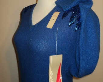 Vintage Blue Knit Sweater Dress with hand sewn sequins on padded shoulders in Mint Condition, Never Worn with tags great for disco dancing