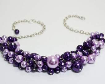 Pearl Necklace, Purple and Lilac Cluster Necklace, Purple Pearl Jewelry, Bridal Necklace, Purple Bridesmaid Jewelry, Lilac Wedding Necklace