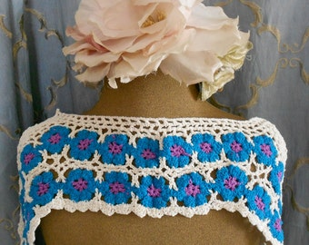 Blue and Purple Crocheted Appliques
