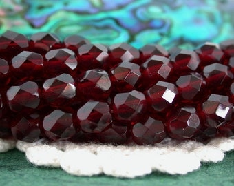 2 Strands 50 ~ 6mm Firepolished, Garnet, Czech Glass Fire Polished Beads, Czech Glass Beads, Faceted Glass Beads  CZ-279