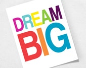 Dream Big Nursery Art Print - Wall Poster - Baby Kids Room Typography - Rainbow - Colorful Colors Decor - Cheerful Funny