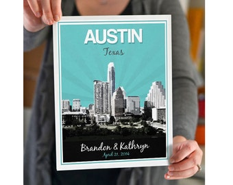 Austin wedding etsy austin texas wedding gift personalized anniversary custom date location city and state negle Gallery