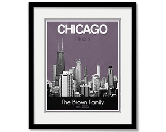 Chicago Wedding Gift - Personalized - Anniversary - Custom Date - Location City and State Modern Art Print - Illinois Chitown