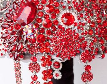 SALE!!! Brooch Bouquet. RED crystal Bouquet, Unique Wedding Bridal Bouquet