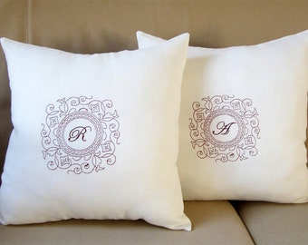 Set fo 2 - Personalized Embroidered Accent Pillow Cover - Romantic Elegance - 100% Linen Wedding Anniversary Housewarming Bridal Shower Gift