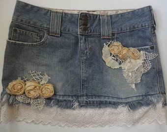 Denim Mini Skirt with Vintage Lace, Flowers, Abercrombie Short Frayed Skirt, Altered Couture, Boho Chic, Mori Girl, Beach Fashion