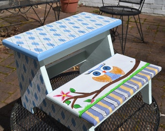 Two Step Stool with Owl and Argyle white and Blue design Custom painted