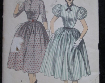 1940's ADVANCE Ladies Full Skirt DRESS Pattern With Puff Sleeves