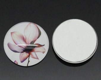 SALE 5 Cabochons 20mm - Lotus Flowers - Glass Dome Seals - Ships IMMEDIATELY from California - C200