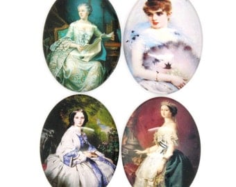 40x30mm Cabochons - Vintage Ladies Cabochons - Assorted - 3pcs - Ships IMMEDIATELY from California - C230