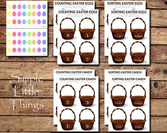 Easter Counting and Sorting - PDF, DIY Printable, Toddler Activity, Home School Acitivy, Color Sorting, Cut and Paste
