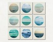 White and Blue Canvas Photography Set, Lake House Decor, Beach Home Art, Modern Canvas Set, Nine Ocean Canvas Set, Nautical Photograph Set