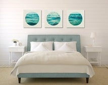 Aqua Wall Art Set, Ocean Canvas Set, Three Canvas Collection, White and Blue Home Decor, Bedroom Wall Art, Water Photograph