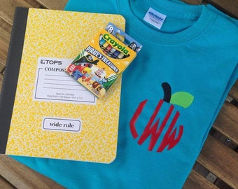 Personalized Monogrammed Apple Back to School Teacher Shirt Tee