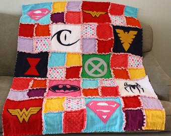 READY TO SHIP - Girl Superhero Quilt / Blanket - Crib Size