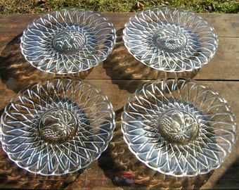 50s Luncheon Breakfast Set for Two Clear Glass Basket Weave Fruits Pressed Thick Glass