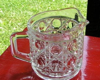 40s 50s Clear Heavy Pressed Glass Creamer Pitcher 3 Patterns holds 1 cup