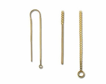 14K/20 Gold Filled U Top Ear Rest  (keeps thread in Place)   Ear Thread with Double Chain - 1 pair - SALE!