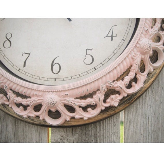 Shabby Chic WALL CLOCK in Pink or Any Color - Ornate - Home Decor - Nursery