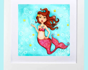 Mermaid Wall Art ~ Girls Room Decor ~ Bathroom Wall Art ~ Nursery ~  beach ~ Mermaid Room Decor ~ Teen Tween Girl ~ Mermaid Print ~ Ocean