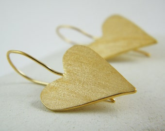 Gold heart dangle earrings gold heart earrings heart earrings love gold earring  Valentines day gift