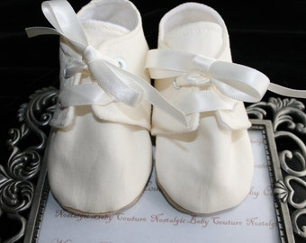 IVORY Baby Boy Cotton Booties\Shoes\Slipper\Bootie\Toddler Sizes Wedding, Christening, Handmade by Nostalgic Baby Couture