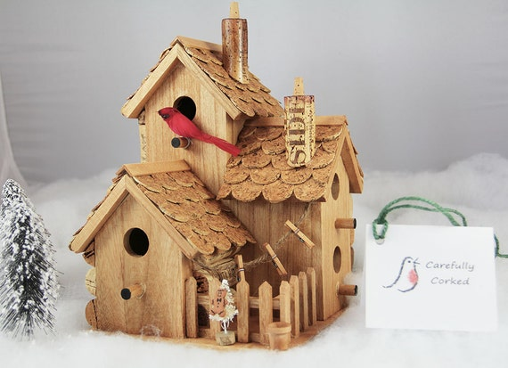 Triple birdhouse wood and wine corks by carefullycorked on for How to build a birdhouse out of wine corks