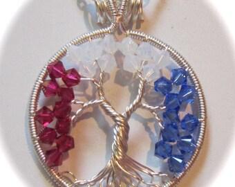 Patriotic Tree of Life, Swarovski Crystal Patriotic Tree of Life, Red White and Blue