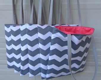 Reversible Tote Bag: Combo 6 Tote Bag Grey Chevron w/ Coral interior ( Ideal for Bridesmaid gifts )