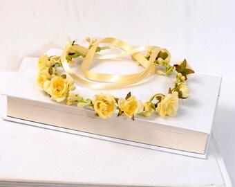Yellow Floral Headband, Spring Flower Crown, Woodland Hair Wreath, Flower Hair Garland, Halo Crown, Boho Head Piece, Halo