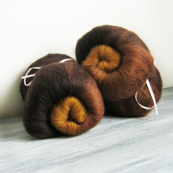 OLD LEATHER art batts - spinning fiber in rich fall brown tones of chocolate and rust 100g 2 pack