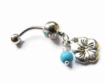 Turquoise Flower Bellybutton Ring Belly Button Jewelry Hawaiian Belly Ring Tropical Belly Button Rings 316L 14G Barbell Turquoise Navel Ring