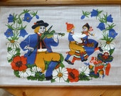 Vintage Swedish wall hanging / Folk costumes and dala horse
