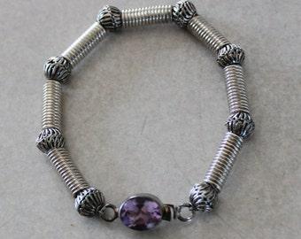Vintage Heavy Artist Designed Sterling Silver Amethyst Bracelet