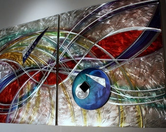 Wilmos Kovacs - Metal Art, Abstract Metal Wall Sculpture Modern Art, Rainbow Decor Painting - W695